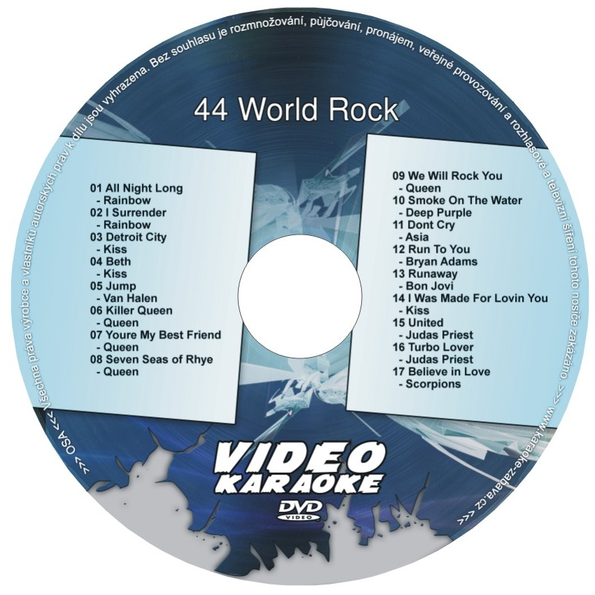 KARAOKE ZÁBAVA: Karaoke DVD 44 World Rock