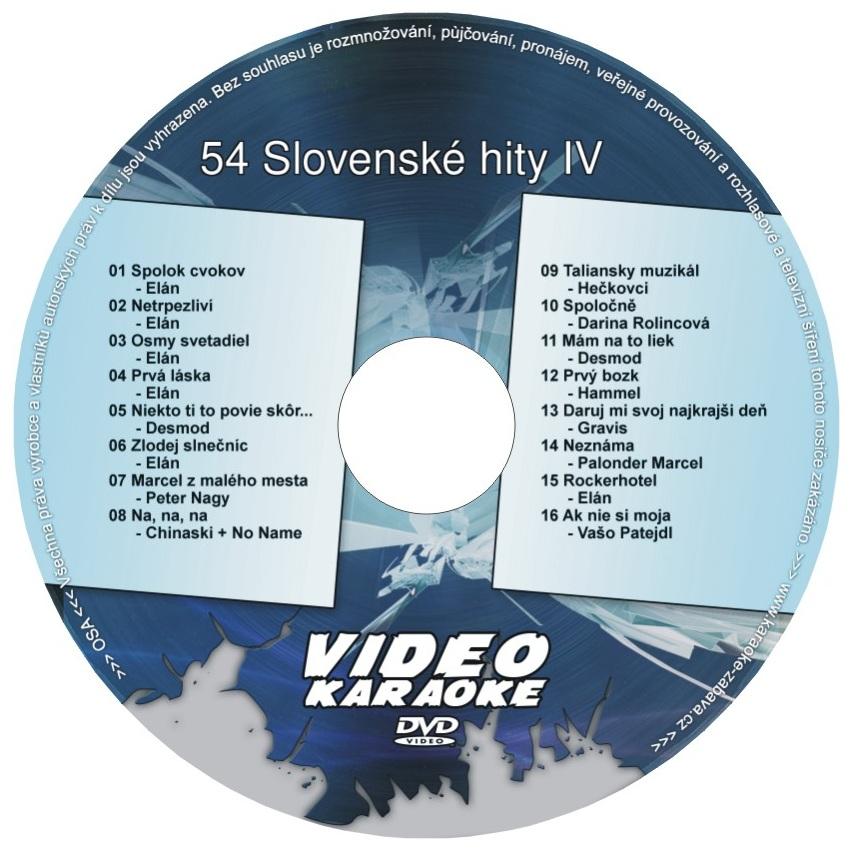 KARAOKE ZÁBAVA: Karaoke DVD 54 Slovenské hity IV