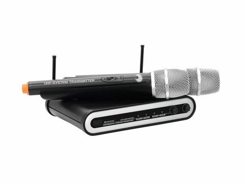 Omnitronic UHF-202 bezdrátový mikr. 2 kanálový, 830.9+824.925 MHz - 2-channel UHF PLL microphone system