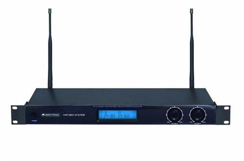 Omnitronic VHF-450 SET 2, bezdrátový mikrofonní set VHF - Pracuje ve VHF pásmu na frekvencích 174.100 a 211.700 MHz