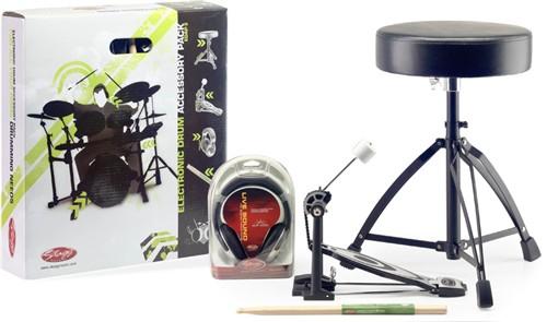 Stagg EDAP 3, příslušenství k elektronickým bicím - Set obsahuje stoličku, šlapku, paličky a sluchátka