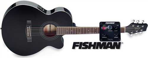 Stagg SA40MJCFI-BK, kytara elektroakustická s výkrojem, černá - Kytara elektroakustická
