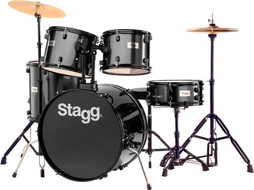Stagg TIM122B BK, bicí sada, černá - Bicí sada včetně činelů
