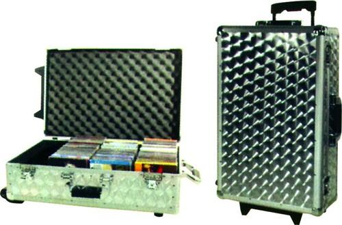 CD Case stříbrný s kolečky, 120 CD - CD kufr stříbrný s kolečky a rukojetí