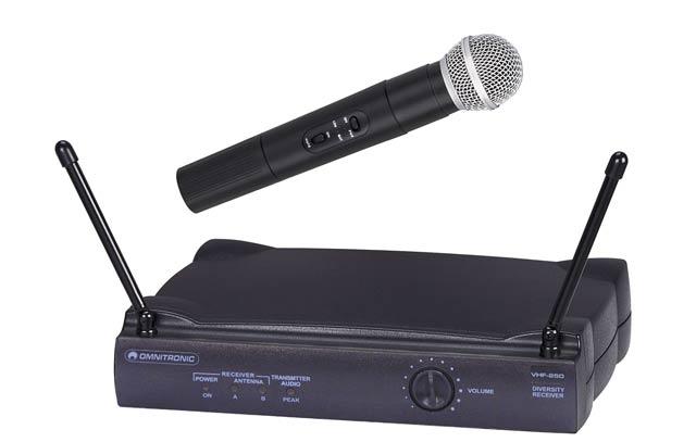Omnitronic VHF-250 - Bezdrátový mikrofon pro profi použití za pěkně kulatou :) cenu.