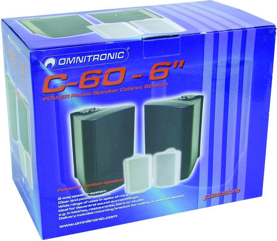 Omnitronic C-60 černé, reproboxy 100W, polohovatelný držák - přepravní obal