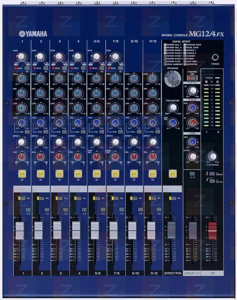 Yamaha MG 12-4-CFX - Mixpult 4 mono + 4 stereo vstupy, 3-p EQ, HPF, fantomov� nap�jen�, 4x insert, 2x aux, vestav�n� 16 efektov� procesor
