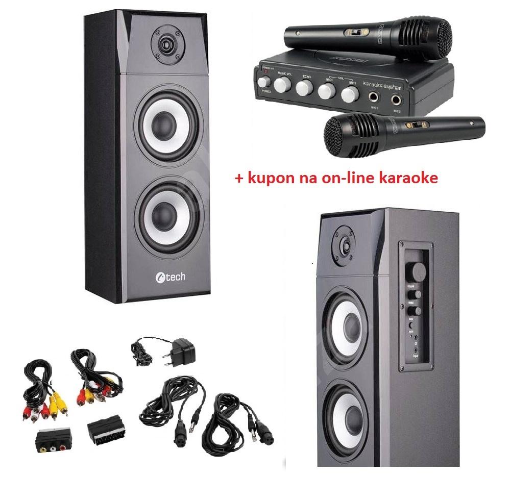 Karaoke set pro tablet nebo smartphone - Karaoke sada pro použití s mobilním telefonem nebo tabletem. Hudba se stahuje online, ale mikrofon a reproduktory jsou pro správné karaoke potřeba.