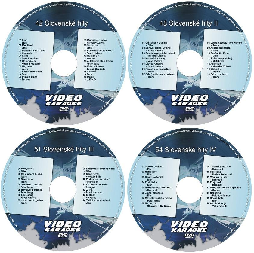 Slovenská čtyřka - Zvýhodněná nabídka 4 karaoke DVD kompilací se slovenskými karaoke klipy.
